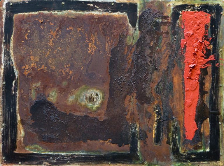 <titulo-obra>Amapola</titulo-obra><br><desc-obra>60 x 80 cm - Mixta sobre chapa, óleo,  collage</desc-obra>