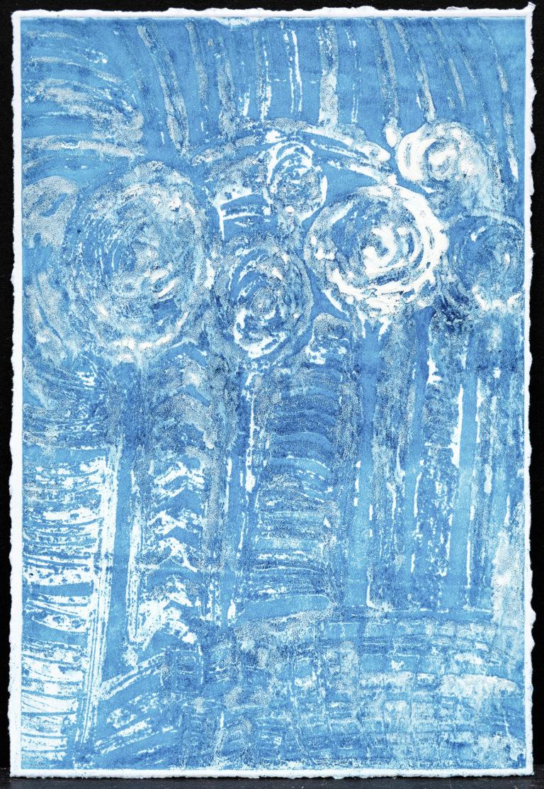 <titulo-obra>Arboles azules</titulo-obra><br><desc-obra>Entintado sobre pintura acrílica, borde perdido</desc-obra>