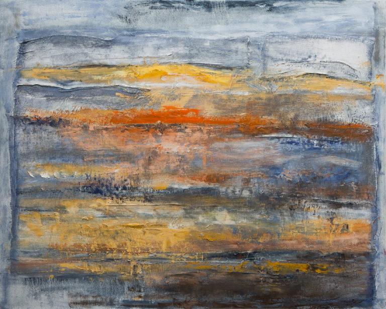 <titulo-obra>Calma</titulo-obra><br><desc-obra>80 x 100 cm - Mixta sobre tela , óleo,  collage</desc-obra>