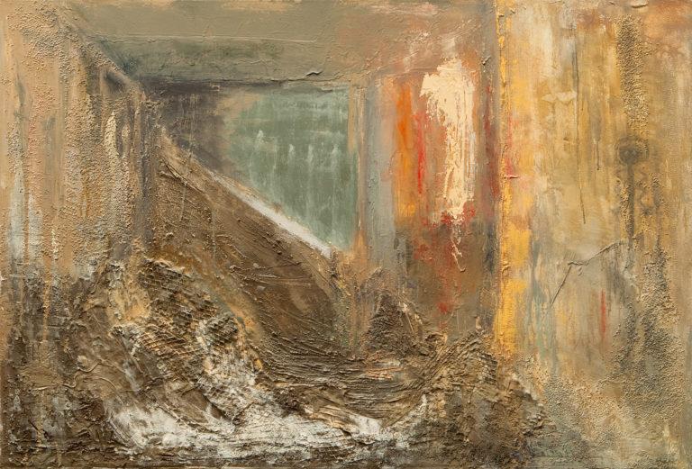 <titulo-obra>Construir</titulo-obra><br><desc-obra>90 x 130 cm - Mixta sobre tela , óleo,  collage</desc-obra>
