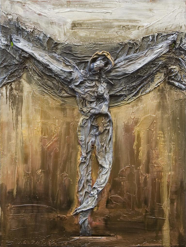 <titulo-obra>Cristo de trapo</titulo-obra><br><desc-obra>60 x 80 cm - Mixta sobre tela , óleo,  collage</desc-obra>