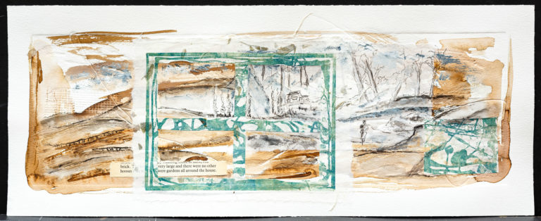<titulo-obra>El bosque</titulo-obra><br><desc-obra>20  x 50 cm - Mixta sobre papel, gofrado, tinta, collage</desc-obra>