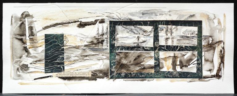 <titulo-obra>El bote</titulo-obra><br><desc-obra>20  x 50 cm - Mixta sobre papel, gofrado, tinta, collage</desc-obra>