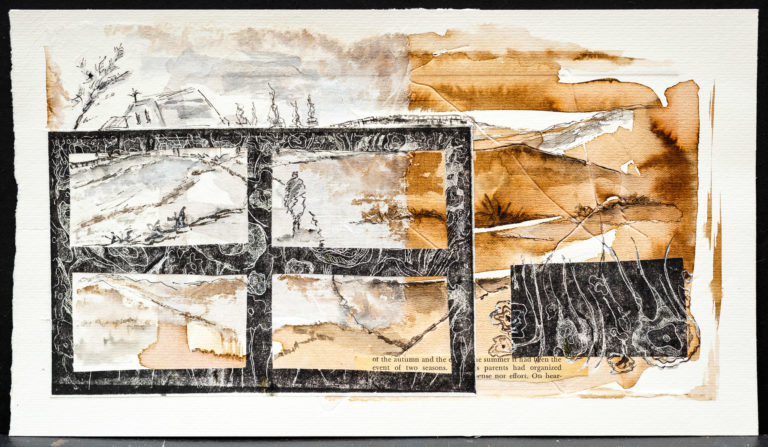 <titulo-obra>El camino</titulo-obra><br><desc-obra>20 x 35 cm - Mixta sobre papel, gofrado, tinta, collage</desc-obra>