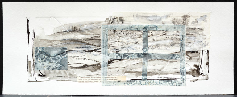 <titulo-obra>El caserío</titulo-obra><br><desc-obra>20  x 50 cm - Mixta sobre papel, gofrado, tinta, collage</desc-obra>