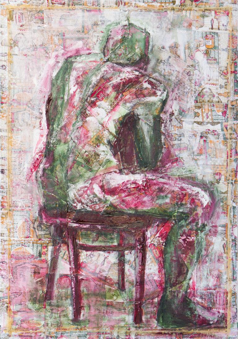 <titulo-obra>El duende de mi cocina</titulo-obra><br><desc-obra>70 x 100 cm - Mixta sobre tela , óleo,  collage</desc-obra>