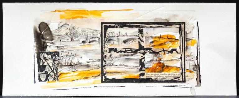 <titulo-obra>EL puente</titulo-obra><br><desc-obra>20  x 50 cm - Mixta sobre papel, gofrado, tinta, collage</desc-obra>