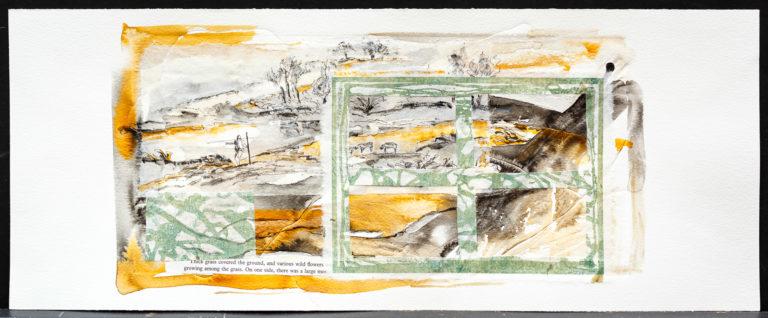 <titulo-obra>El río</titulo-obra><br><desc-obra>20  x 50 cm - Mixta sobre papel, gofrado, tinta, collage</desc-obra>