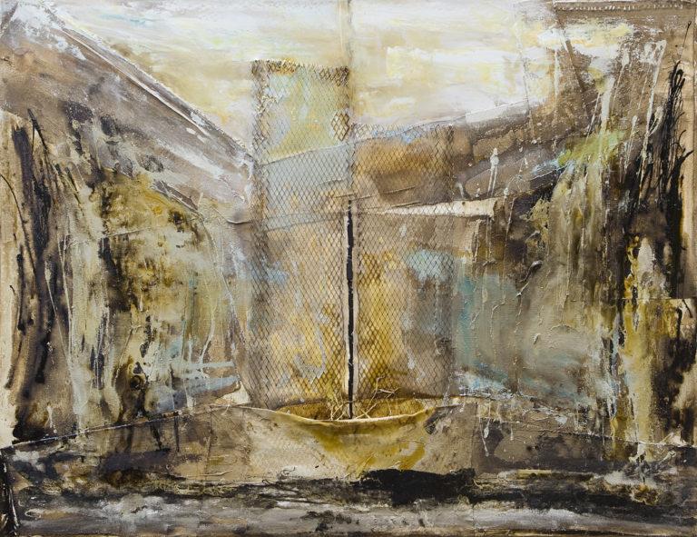 <titulo-obra>El tajo que todo lo traga</titulo-obra><br><desc-obra>100 x 130 cm - Mixta sobre tela , óleo,  collage</desc-obra>