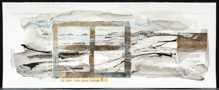<titulo-obra>La mar</titulo-obra><br><desc-obra>20  x 50 cm - Mixta sobre papel, gofrado, tinta, collage</desc-obra>
