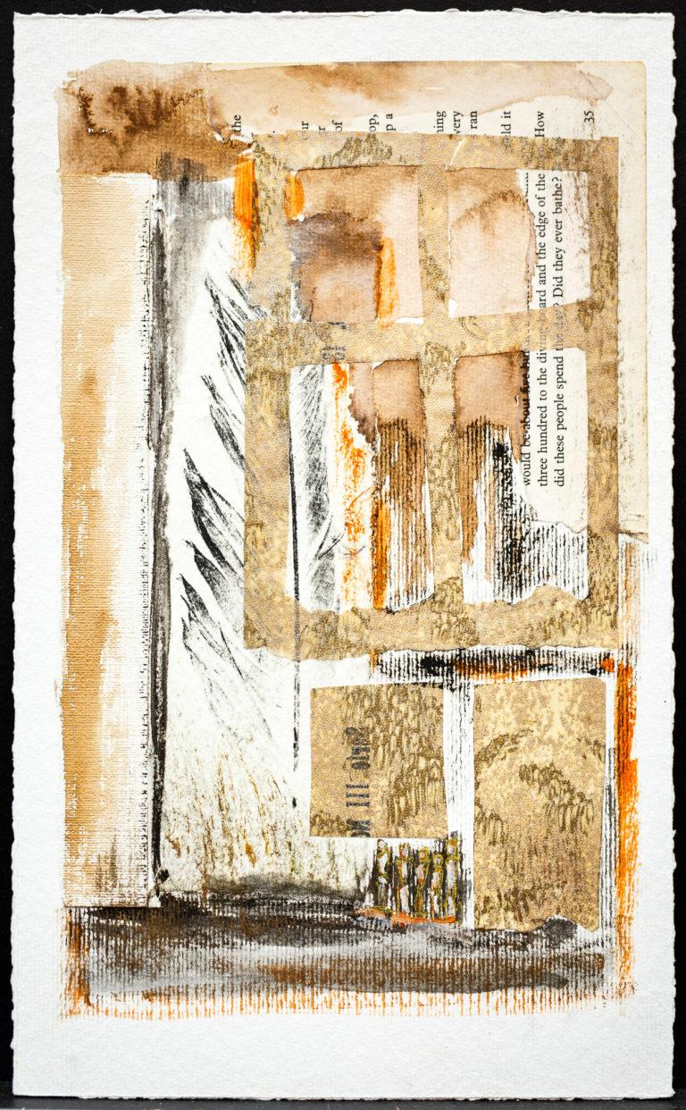 <titulo-obra>La pluma </titulo-obra><br><desc-obra>18 x 30 cm - Mixta sobre papel, gofrado, tinta, collage</desc-obra>