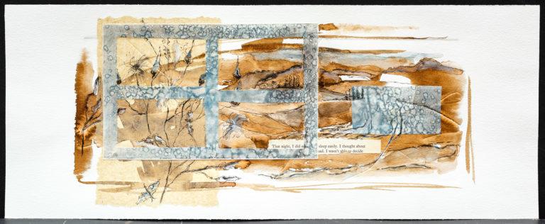 <titulo-obra>Las montañas</titulo-obra><br><desc-obra>20  x 50 cm - Mixta sobre papel, gofrado, tinta, collage</desc-obra>