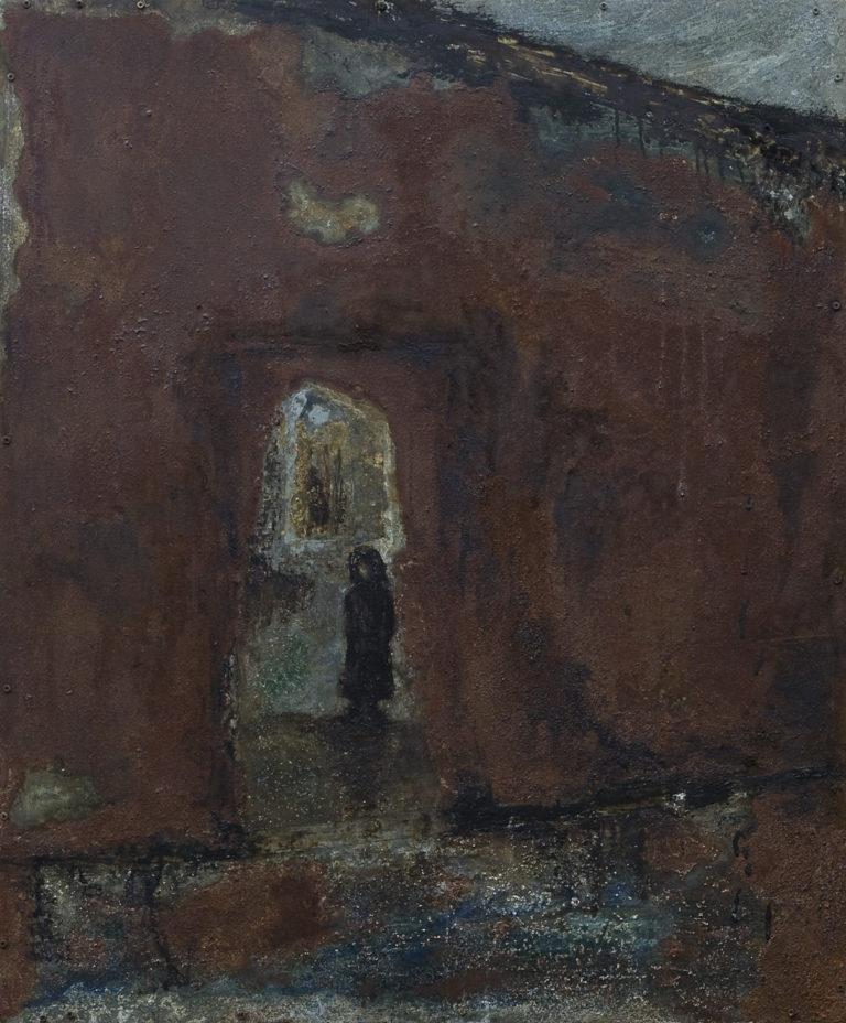 <titulo-obra>Más cerca de la salida</titulo-obra><br><desc-obra>80 x 100 cm - Mixta sobre chapa, óleo,  collage</desc-obra>