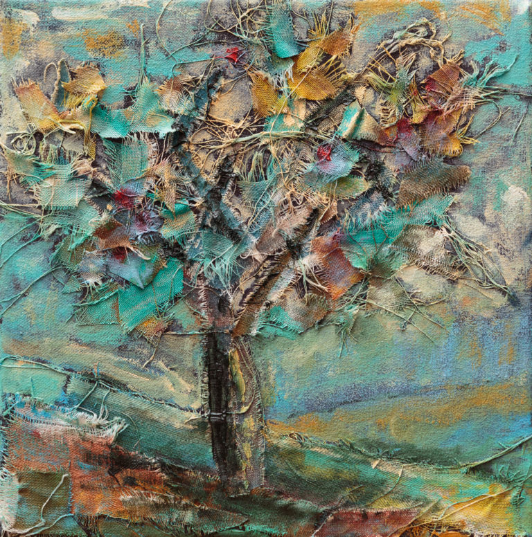 <titulo-obra>Manzano</titulo-obra><br><desc-obra>20 x 20 cm - Mixta, óleo,  collage</desc-obra>