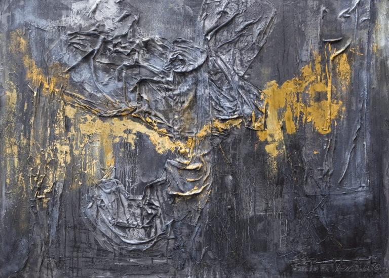 <titulo-obra>Oscura luz</titulo-obra><br><desc-obra>100 x 140 cm - Mixta sobre tela , óleo,  collage</desc-obra>