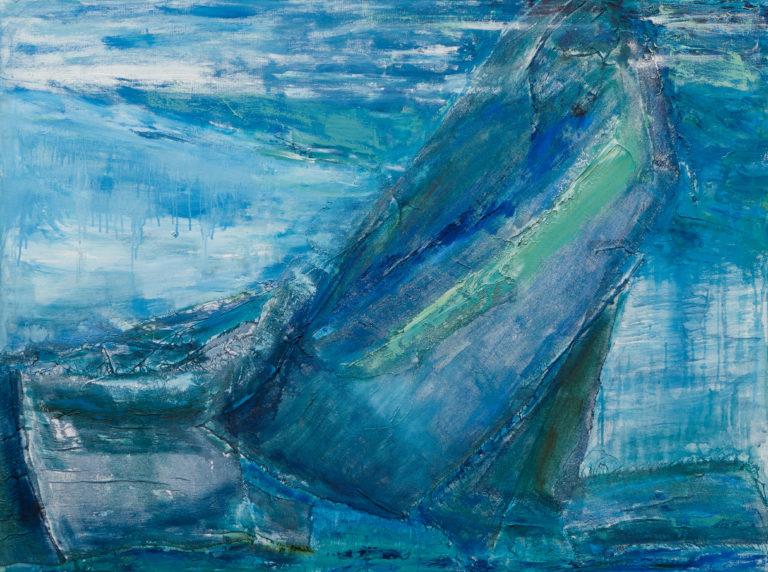 <titulo-obra>Pausa</titulo-obra><br><desc-obra>90 x 110 cm - Mixta sobre tela , óleo,  collage</desc-obra>