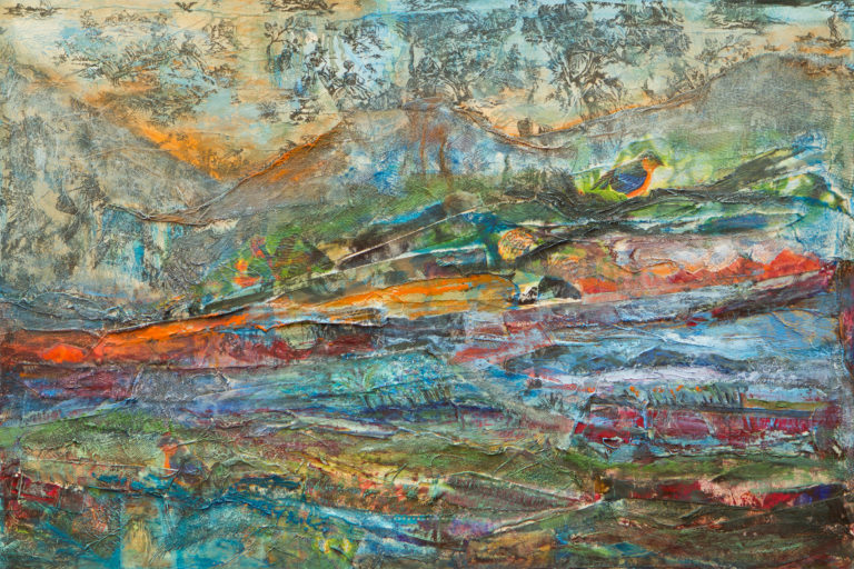 <titulo-obra>Retazos</titulo-obra><br><desc-obra>60 x 90 cm - Mixta sobre tela , óleo,  collage</desc-obra>