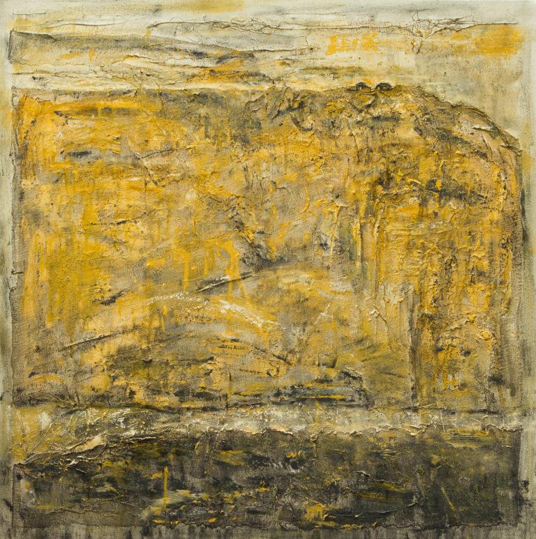 <titulo-obra>Un refugio</titulo-obra><br><desc-obra>100 x 100 cm - Mixta sobre tela , óleo,  collage</desc-obra>